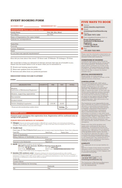 basic event booking form example