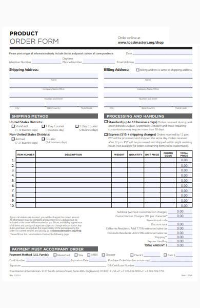 basic product order form