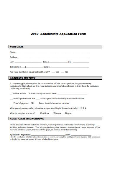 basic scholarship application form
