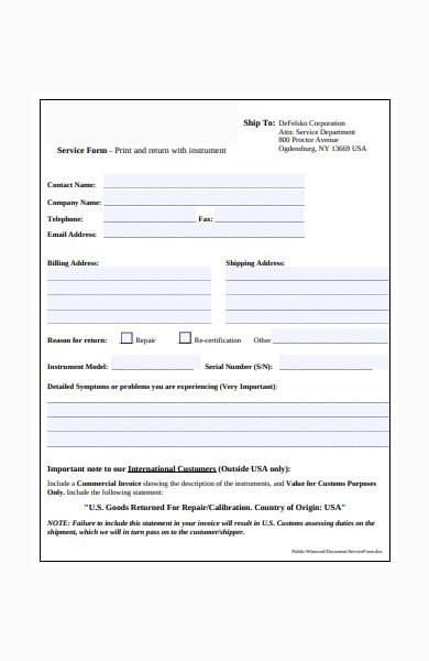 basic service form