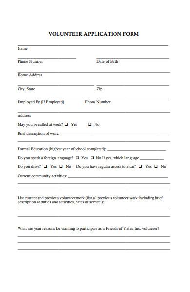 basic volunteer application form