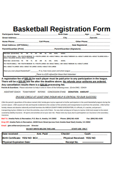basketball registration form