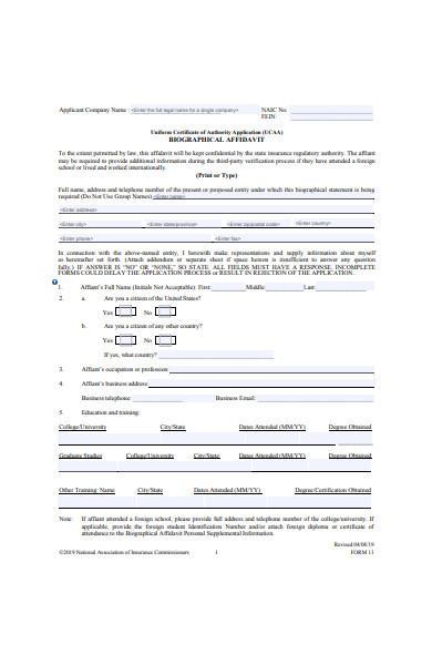 biographical affidavit form