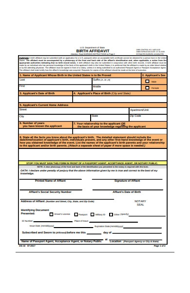 birth affidavit form