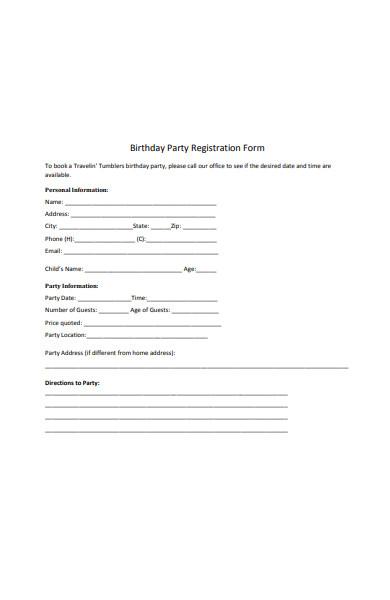 birthday party registration form