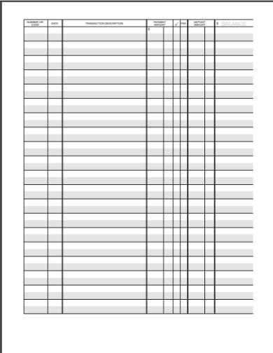 blank checkbook register form
