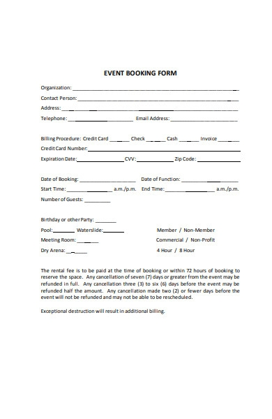 blank event booking form