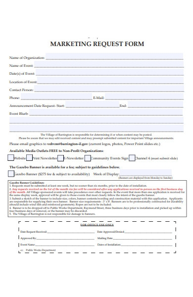 blank marketing request form