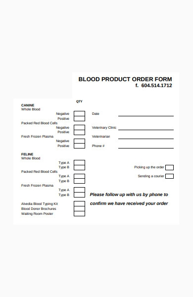 blood product order form