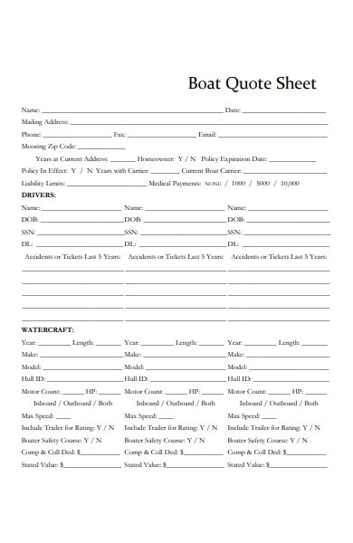 boat quote sheet form