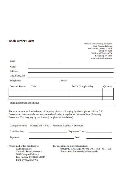 book order form sample