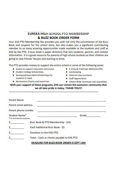 book order membership form