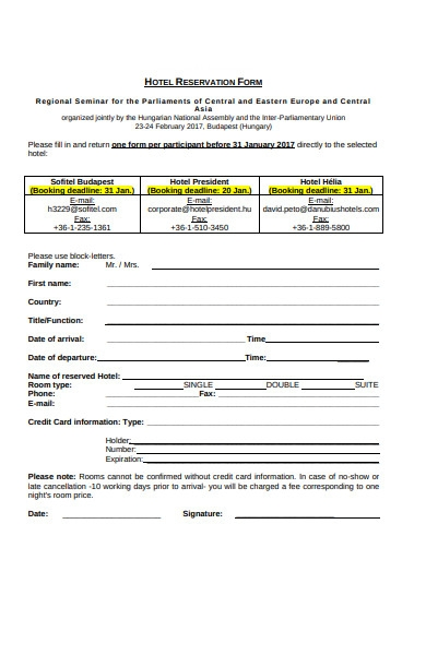 booking reservation form