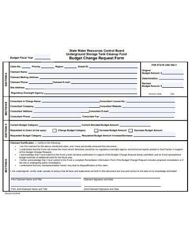 budget change request form