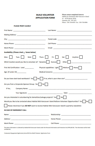 build volunteer application form