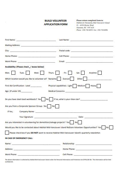 build volunteer form