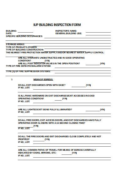 building inspection form