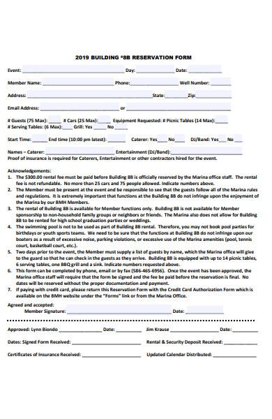 building reservation form