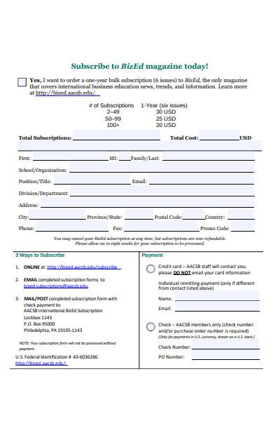 bulk subscription form
