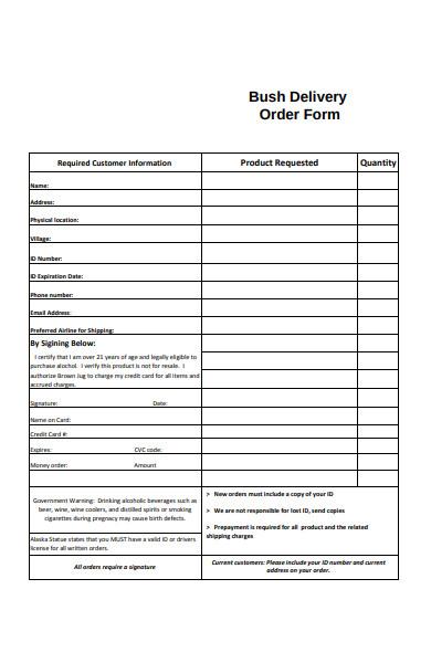 bush delivery order form