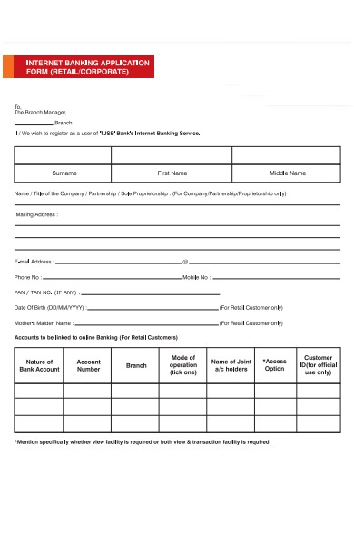 business banking form