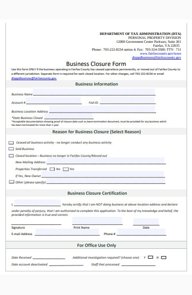business closure form1