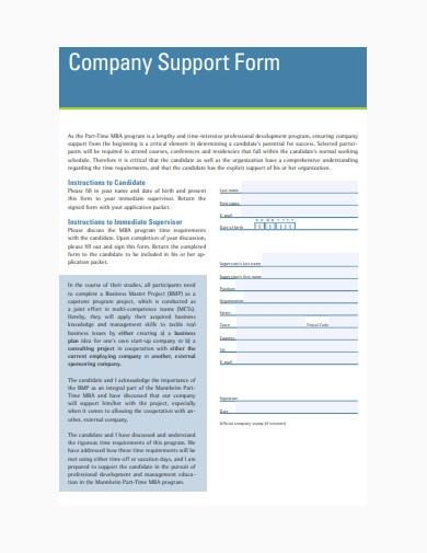 business company support form