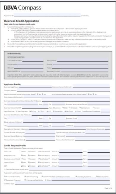 business credit application checklist