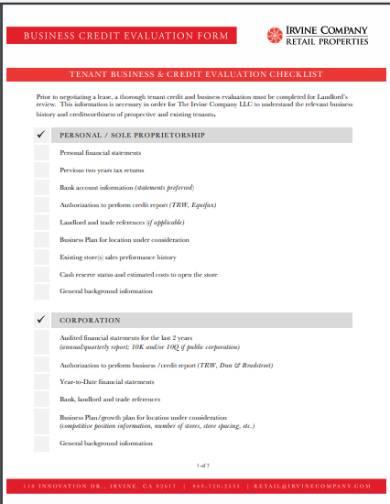 business credit evaluation checklist
