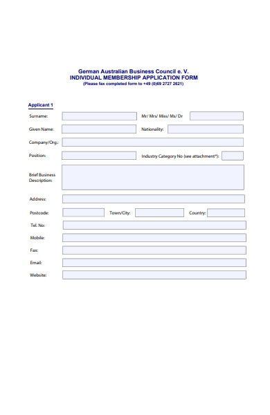 business membership application form