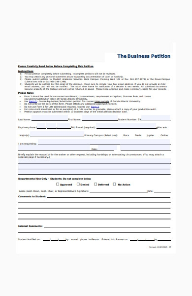 business petition form