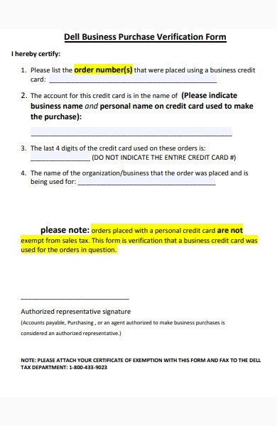 business purchase verification form