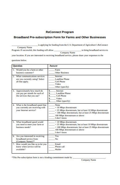 business subscription form