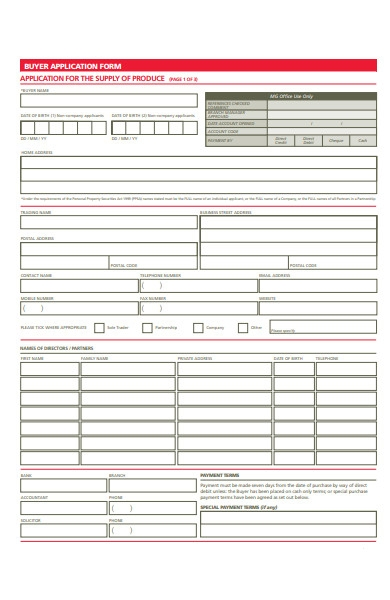 buyer application form