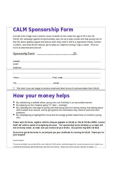 calm sponsorship form