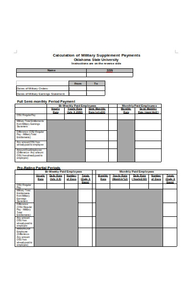 calculation of military supplement payment form