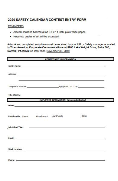 calendar contest entry form