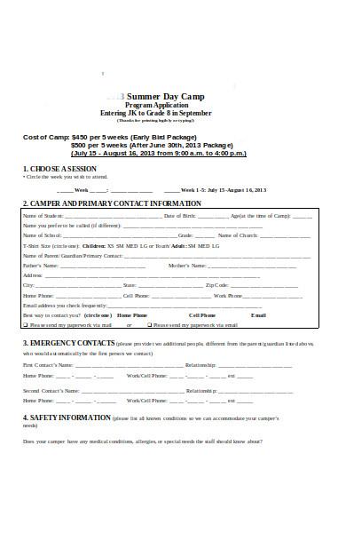 camp selection registration form