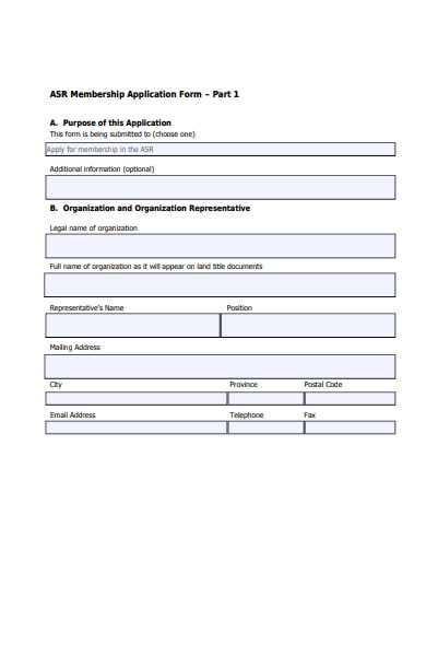candidate membership application form
