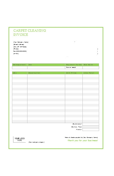 carpet cleaning service invoice form
