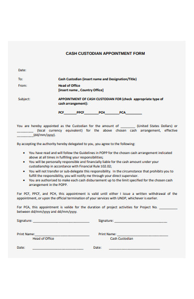 cash custodian appointment form