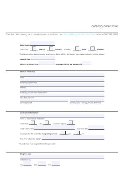 catering food order form