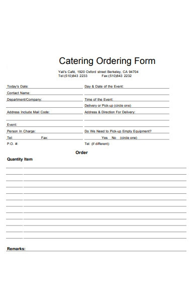 catering order intake form
