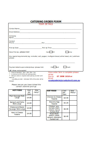 catering purchase order form