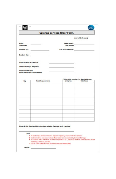 catering requirement order form