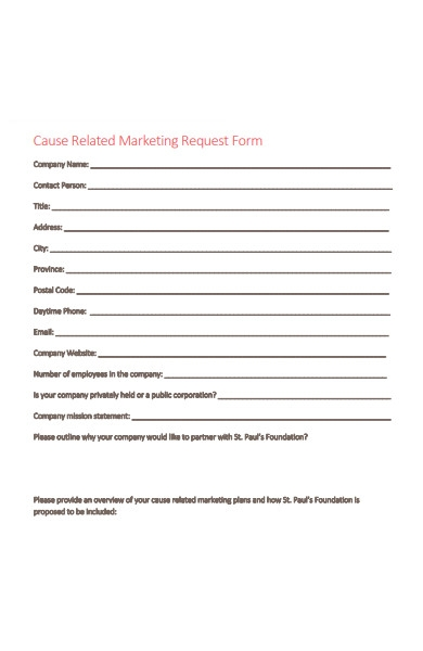 cause related marketing request form