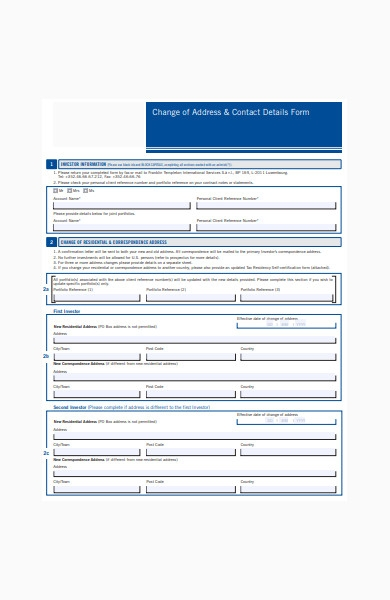 change of address contact form