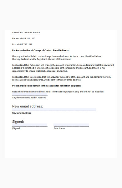 change of contact form sample