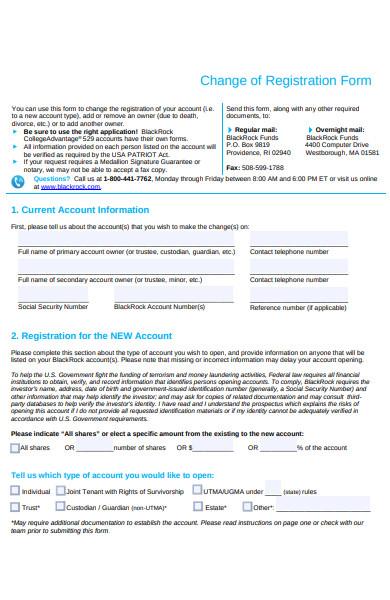 change of registration form
