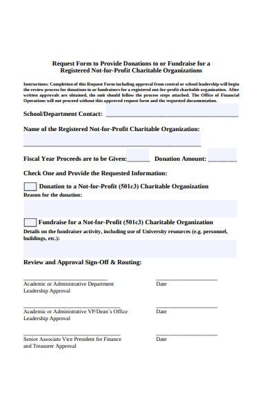 charitable donation form